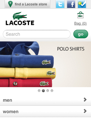 Lacoste Mobile Website